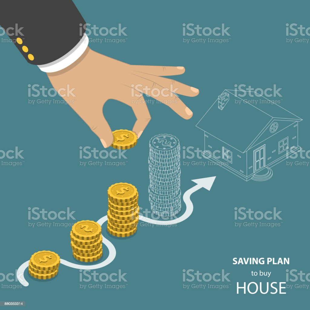 Saving plan to buy house flat isometric vector concept. vector art illustration