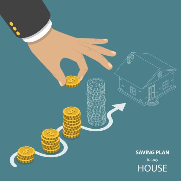illustrations, cliparts, dessins animés et icônes de sauvegarde plan pour acheter maison concept vecteur plat isométrique. - nouveau foyer