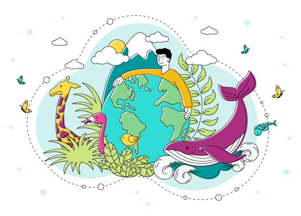 Saving the natural environment and Planet Saving the natural environment and Planet with a young man encircling a globe with his arms surrounded by plants, birds, animals and marine life, vector illustration animal stock illustrations