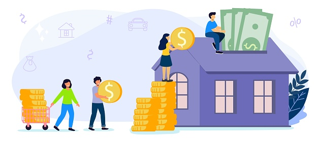 Saving to buy a house or home savings vector illustration concept Planning savings money to buy a home