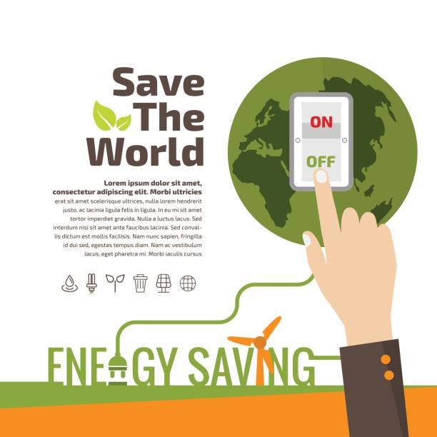 Savings concept, switch off, energy concept, idea abstract infographic layout, vector illustration Savings concept, switch off, energy concept, idea abstract infographic layout, vector illustration energy efficient stock illustrations