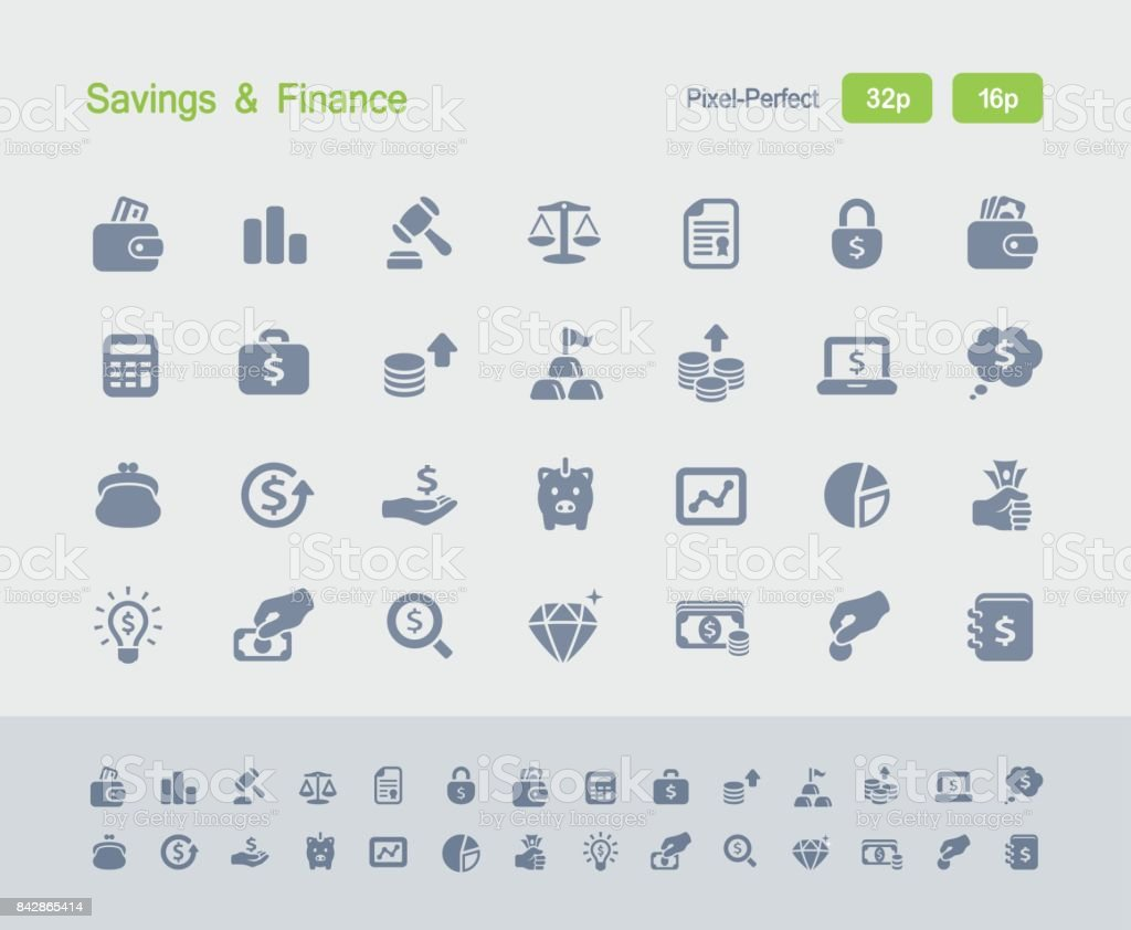 Savings & Finance - Granite Icons vector art illustration