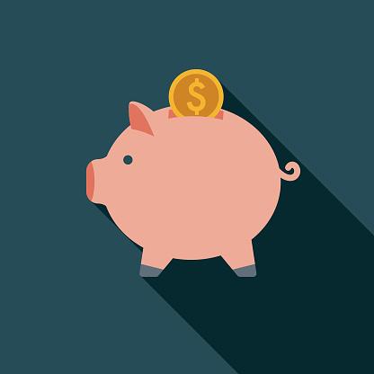Savings Flat Design Insurance Icon