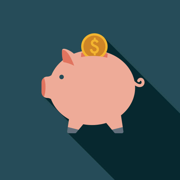 Savings Flat Design Insurance Icon A flat design styled Insurance celebrations icon with a long side shadow. Color swatches are global so it's easy to edit and change the colors. piggy bank stock illustrations