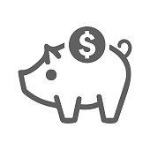 istock Savings icon, deposit, piggy bank, vector graphics 1239285078