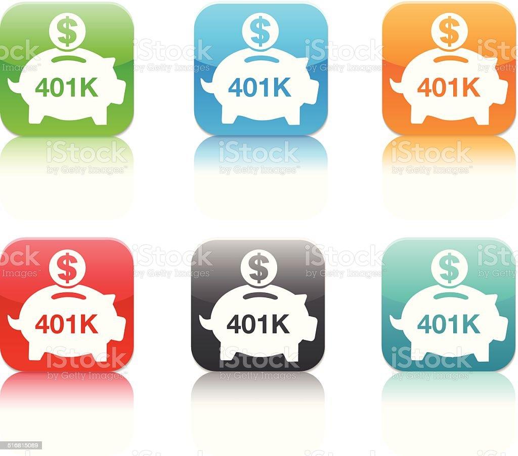 401K savings piggy bank app icons vector art illustration