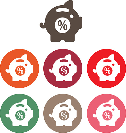 savings piggy bank icon set