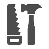 istock Saw and hammer solid icon, house repair concept, carpentry tools sign on white background, Hand saw and hammer icon in glyph style for mobile concept and web design. Vector graphics. 1264194525