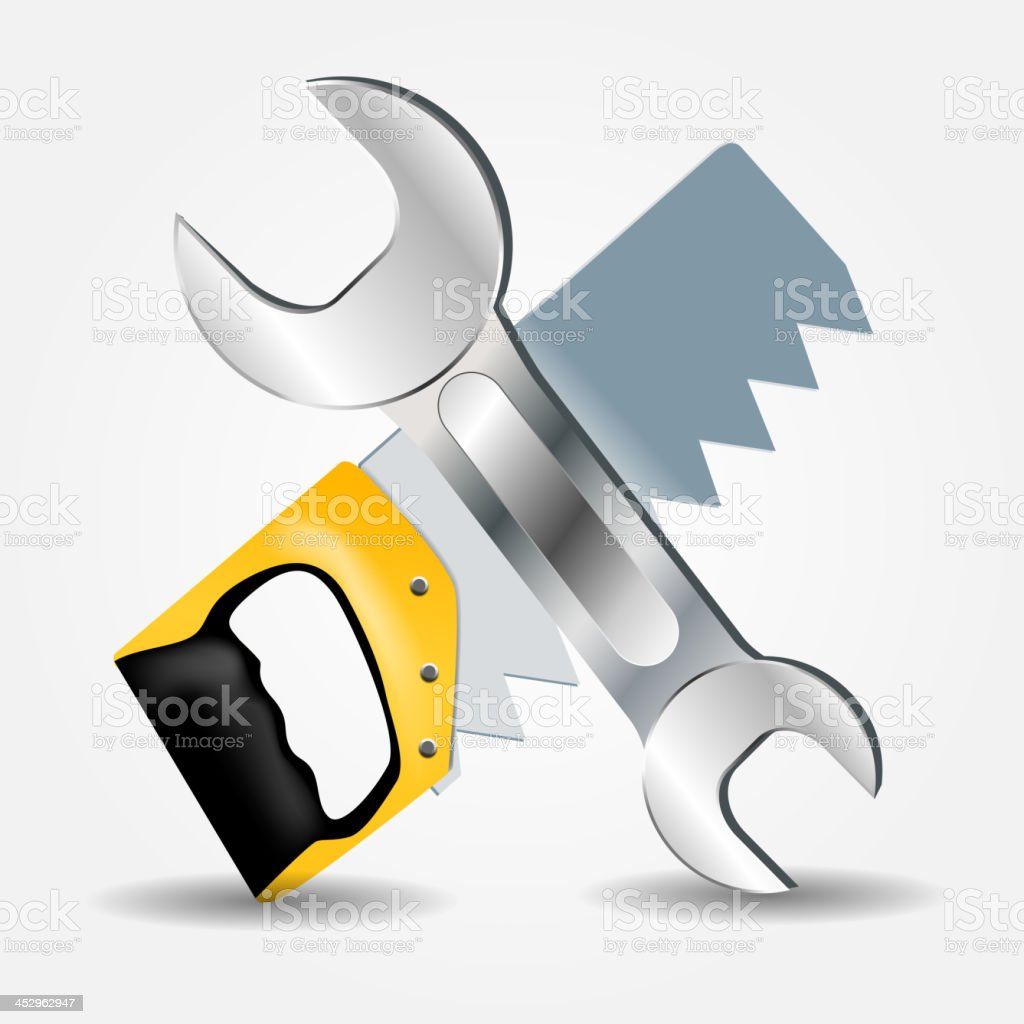 Saw and Wrench icon vector illustration royalty-free stock vector art