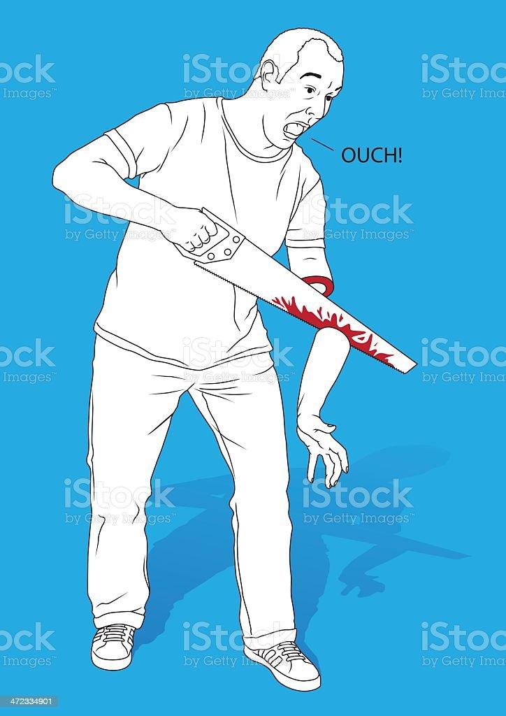 DIY Sawing gone wrong vector art illustration