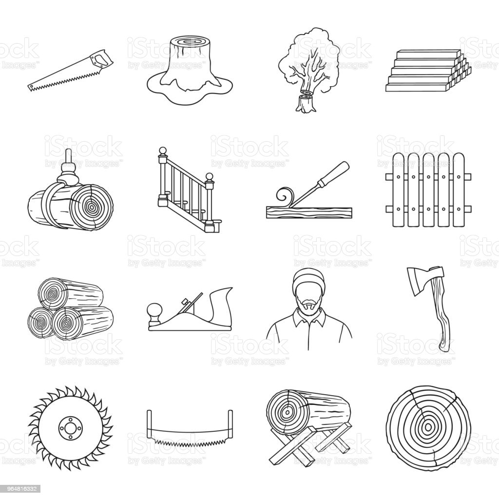 Sawmill and Timber outline icons in set collection for design. Hardware and Tools vector symbol stock web illustration. royalty-free sawmill and timber outline icons in set collection for design hardware and tools vector symbol stock web illustration stock illustration - download image now