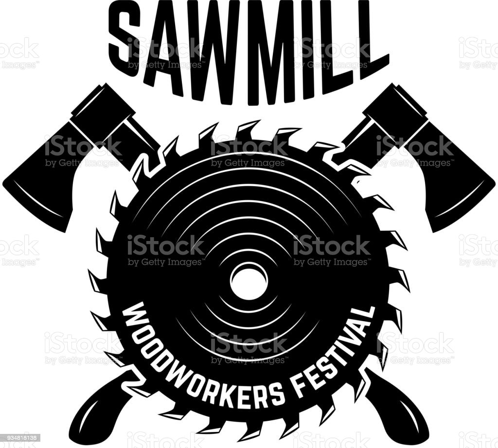 sawmill emblem template with crossed lumberjack axes and saw design