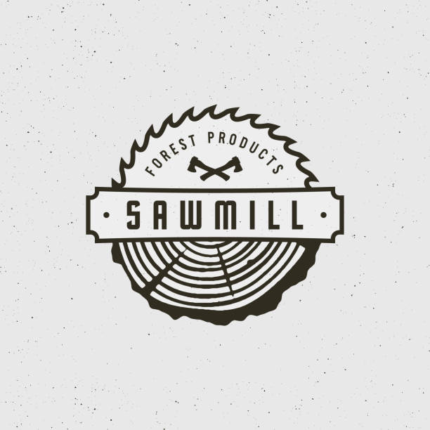 sawmill . retro styled woodwork emblem. vector illustration sawmill . retro styled woodwork emblem, badge, design elements, type template. vector illustration carpenter stock illustrations