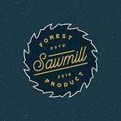 sawmill . retro styled woodwork emblem, badge, design elements, type template. vector illustration