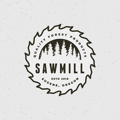 sawmill . retro styled woodwork emblem. vector illustration