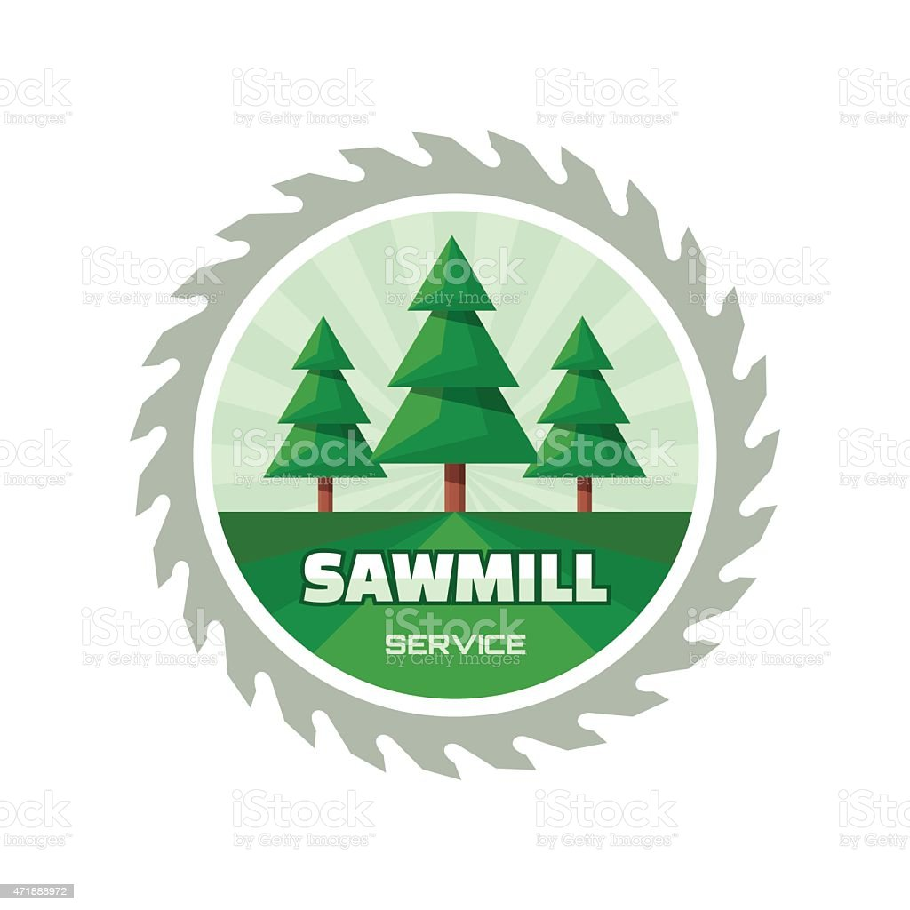 Sawmill service - vector logo illustration in flat style design vector art illustration