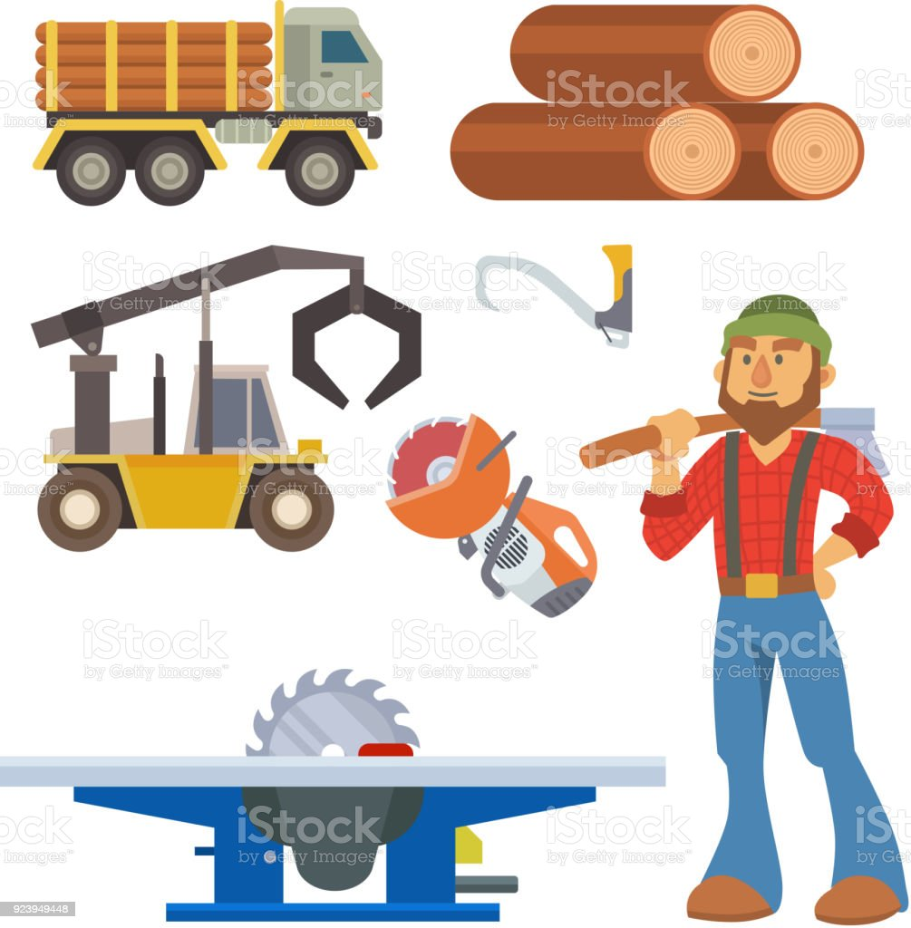 Sawmill woodcutter character logging equipment lumber machine industrial wood timber forest vector illustration vector art illustration