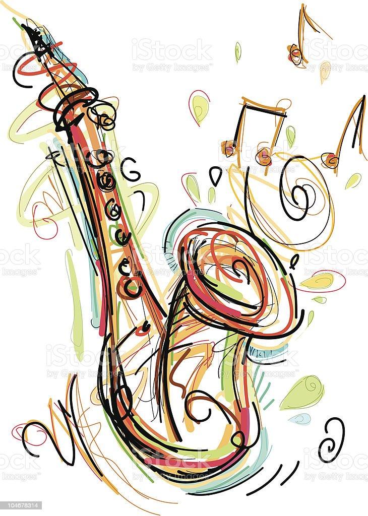 sax art royalty-free stock vector art