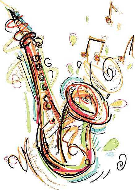 Royalty free saxophone clip art vector images - Dessin saxophone ...