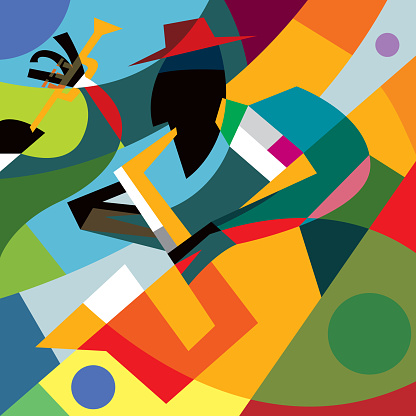Sax Player, Abstract Cubic Jazz Band (vector Art)