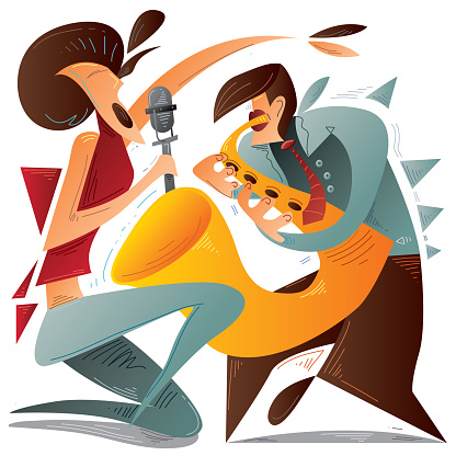 Sax Player, Abstract Cubic Jazz Woman Singer (vector Art)