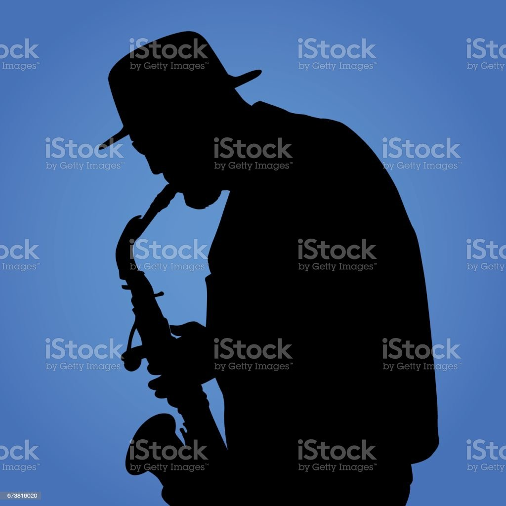 Saxaphone Player vector art illustration
