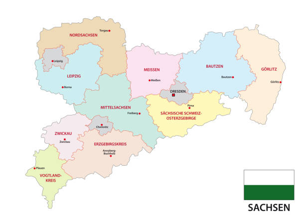 bildbanksillustrationer, clip art samt tecknat material och ikoner med sachsen administrativa och politiska karta med flagga i tyskt språk - germany map leipzig