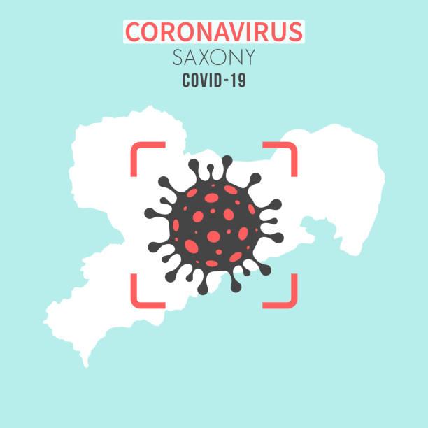 bildbanksillustrationer, clip art samt tecknat material och ikoner med sachsen kartlägger med en coronaviruscell (covid-19) i rött sökare - germany map leipzig