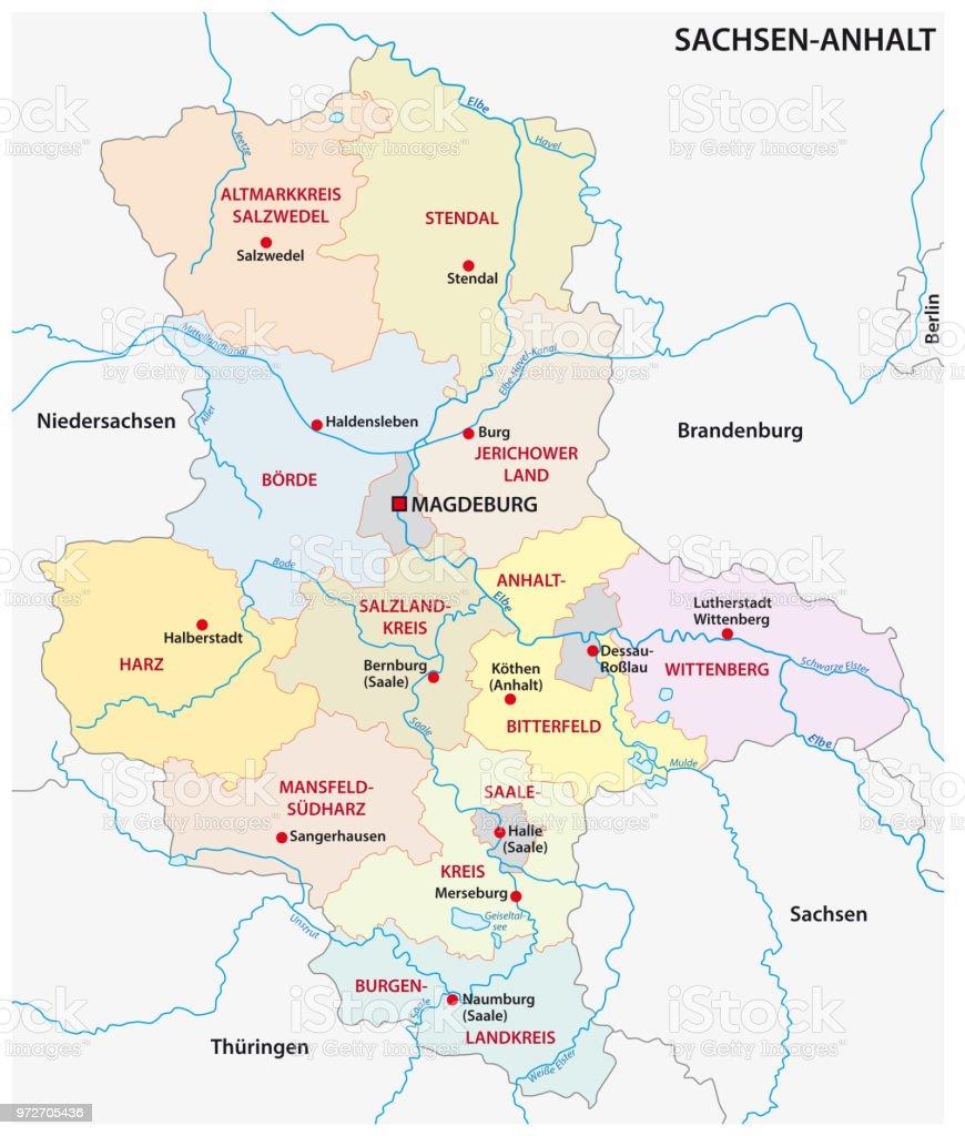 Karte Sachsen Anhalt.Administrative Und Politische Karte Sachsenanhalt Deutschland Stock