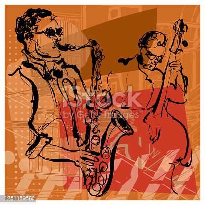 Saxophone and double-bass players - vector illustration (Ideal for printing on fabric or paper, poster or wallpaper, house decoration)