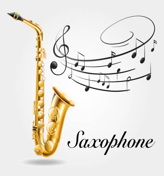 ilustrações de stock, clip art, desenhos animados e ícones de saxophone and music notes on poster - saxofone