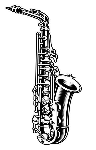 ilustrações de stock, clip art, desenhos animados e ícones de saxophone black and white illustration - saxofone