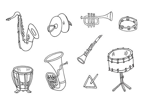 Saxophone, cymbals, tambourine, timpani, triangle, snare drum, tuba, clarinet and trumpet set. Hand drawn musical instruments vector icon collection.