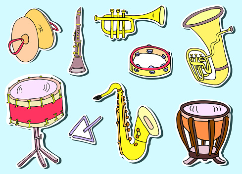 Saxophone, cymbals, tambourine, timpani, triangle, snare drum, tuba, clarinet and trumpet sticker pack. Hand drawn musical instruments vector icon collection.