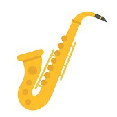 Saxophone flat icon, music and instrument, jazz sign vector graphics, a coloful solid pattern on a white background, eps 10.
