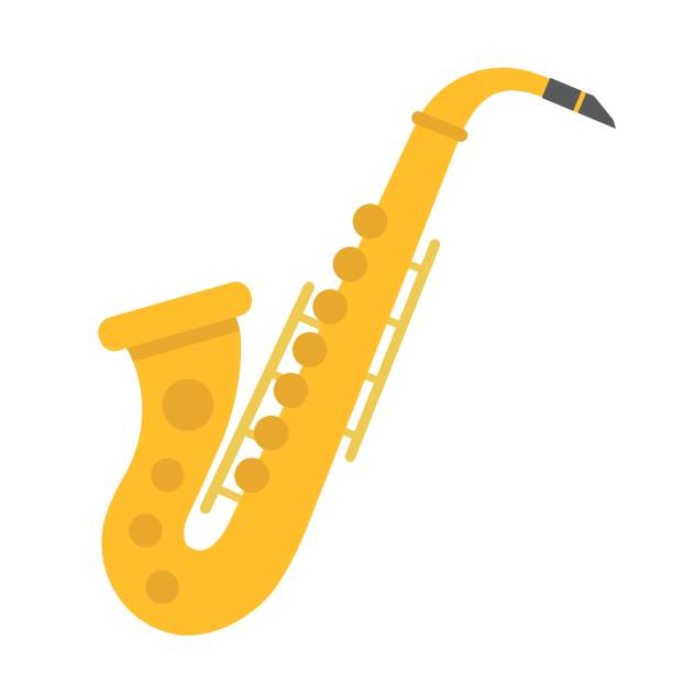 ilustrações de stock, clip art, desenhos animados e ícones de saxophone flat icon, music and instrument, jazz sign vector graphics, a coloful solid pattern on a white background, eps 10. - saxofonista