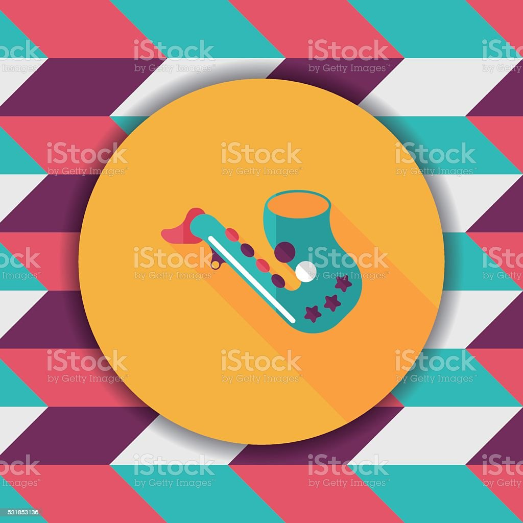 saxophone flat icon with long shadow,eps10 vector art illustration