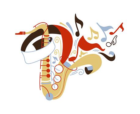 Saxophone flat vector illustration