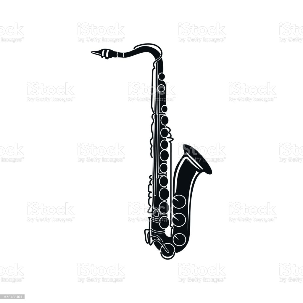 Saxophone icon, black simple style vector art illustration