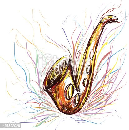 istock Saxophone in color sketch style 451352029