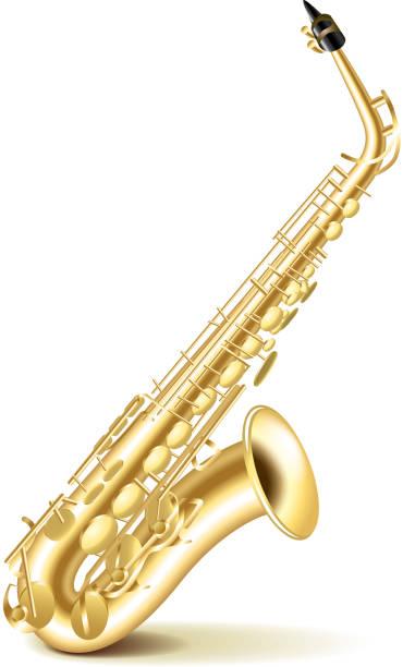 ilustrações de stock, clip art, desenhos animados e ícones de saxofone isolado num branco vector - saxofone