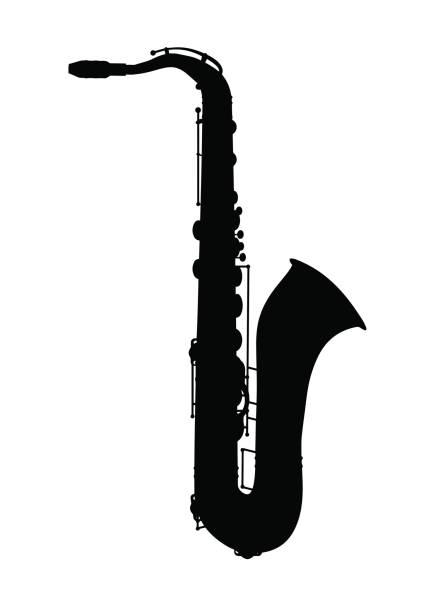 ilustrações de stock, clip art, desenhos animados e ícones de saxophone. jazz musical instrument silhouette - saxofone
