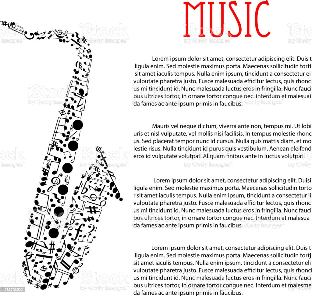Saxophone made up of musical notes vector art illustration