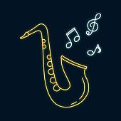 Saxophone neon sign. Led notes. Jazz bar concept. Music shop luminous bright label. Vector isolated illustration.