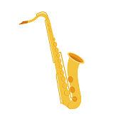 Cute flat cartoon style. Saxophone icon. Vector illustration