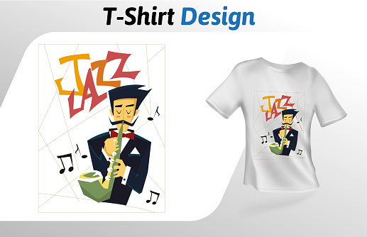 Saxophone player flat t-shirt print. Mock up t-shirt design template. Vector template, isolated on white background.