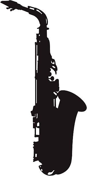Saxophone silhouette vector art illustration