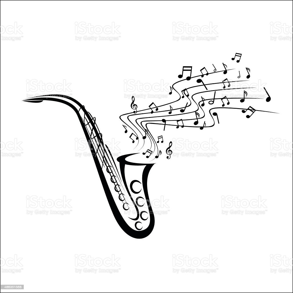 Saxophone sketch vector art illustration