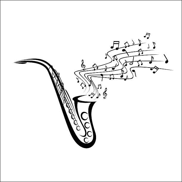 ilustrações de stock, clip art, desenhos animados e ícones de saxofone desenho - saxofone