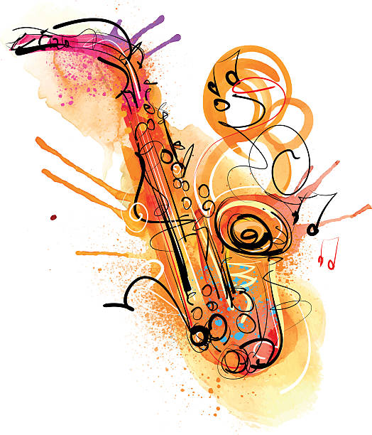 saksofon splash - jazz stock illustrations